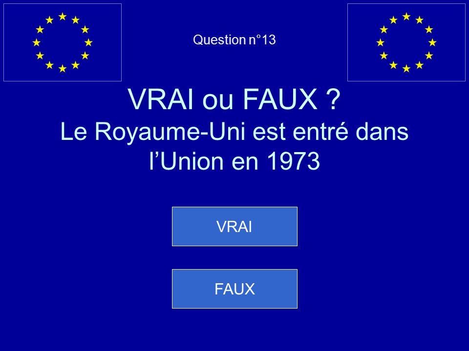Mauvaise réponse… La Finlande, la Suède et lAutriche sont entrées dans lUE le 1 er janvier 1995 Question suivante