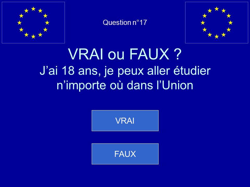 Mauvaise réponse… Cest FAUX, les fonctionnaires européens paient limpôt sur le revenu, la TVA et la taxe de circulation automobile Question suivante