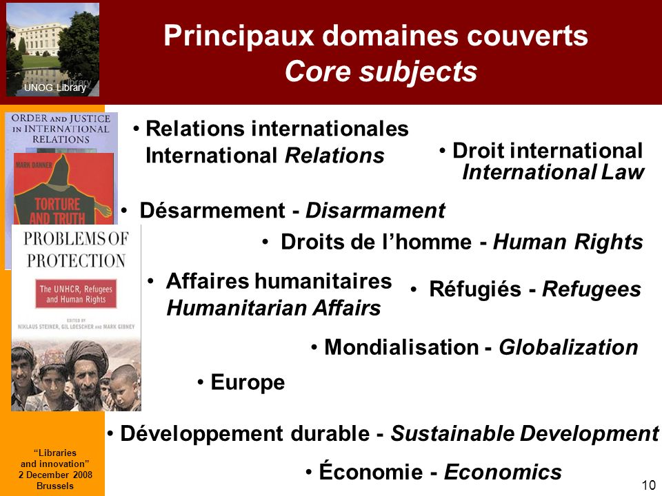 UNOG Library Libraries and innovation 2 December 2008 Brussels 10 Principaux domaines couverts Core subjects Droits de lhomme - Human Rights Relations