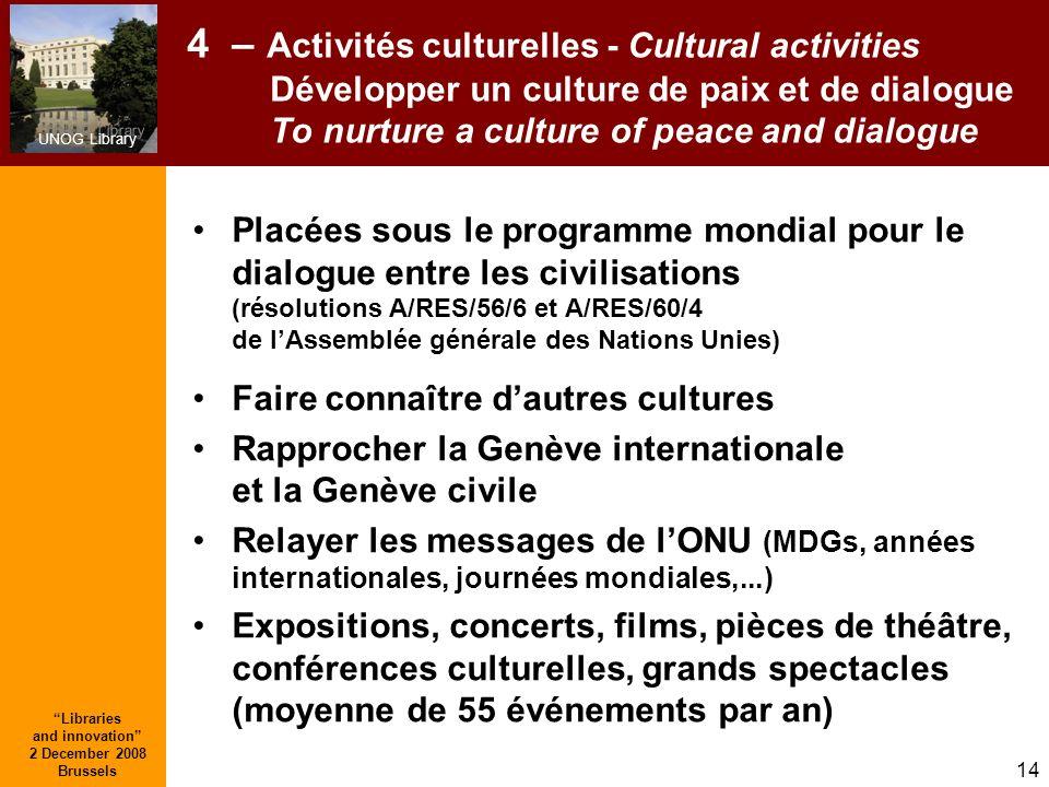 UNOG Library Libraries and innovation 2 December 2008 Brussels 14 4 – Activités culturelles - Cultural activities Développer un culture de paix et de