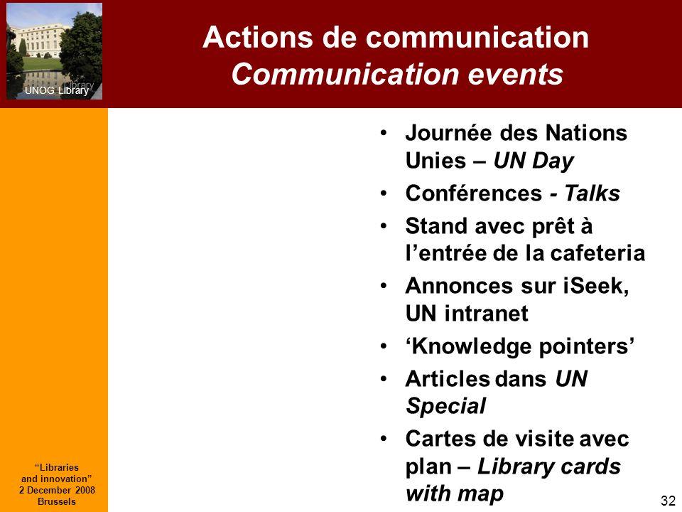 UNOG Library Libraries and innovation 2 December 2008 Brussels 32 Actions de communication Communication events Journée des Nations Unies – UN Day Con