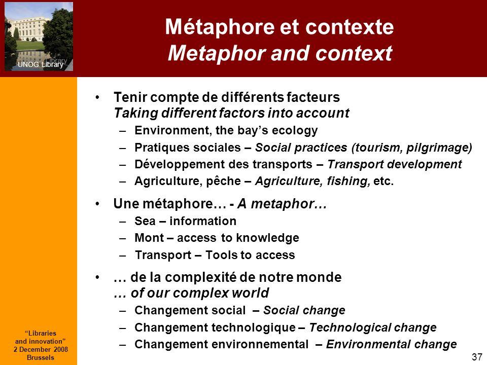 UNOG Library Libraries and innovation 2 December 2008 Brussels 37 Métaphore et contexte Metaphor and context Tenir compte de différents facteurs Takin