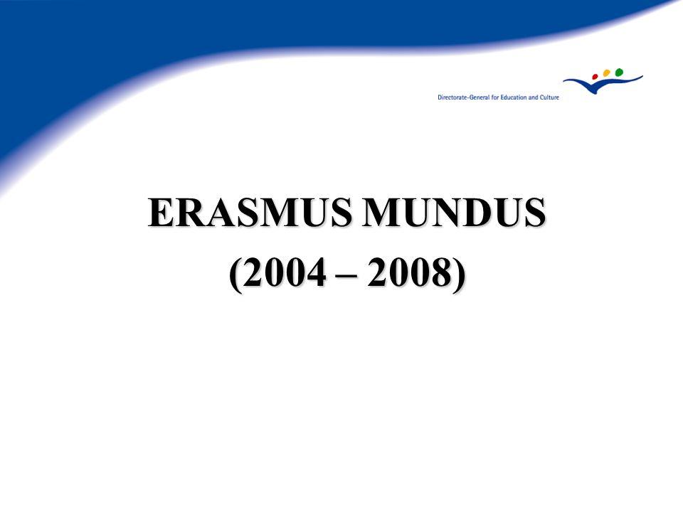 ERASMUS MUNDUS Augmenter lattractivité (Action 4) - Résultats 14 projets sélectionnés (7 ont démarré en 2004, 7 en 2005) Large variété dactivités (promotion, conseil, etc.) 26 pays européens représentés, participation la plus forte : France, Royaume-Uni, Norvège, les Pays-Bas 17 pays tiers représentés, participation la plus forte : Russie, Etats-Unis, Canada, Australie Liste des projets sélectionnés disponible sur le site internet Erasmus Mundus