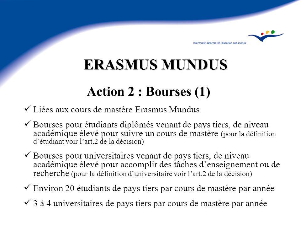 ERASMUS MUNDUS Action 2 : Bourses (1) Liées aux cours de mastère Erasmus Mundus Bourses pour étudiants diplômés venant de pays tiers, de niveau académique élevé pour suivre un cours de mastère (pour la définition détudiant voir lart.2 de la décision) Bourses pour universitaires venant de pays tiers, de niveau académique élevé pour accomplir des tâches denseignement ou de recherche (pour la définition duniversitaire voir lart.2 de la décision) Environ 20 étudiants de pays tiers par cours de mastère par année 3 à 4 universitaires de pays tiers par cours de mastère par année