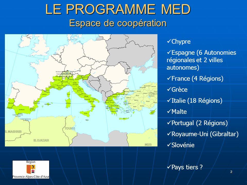2 LE PROGRAMME MED Espace de coopération Chypre Espagne (6 Autonomies régionales et 2 villes autonomes) France (4 Régions) Grèce Italie (18 Régions) M