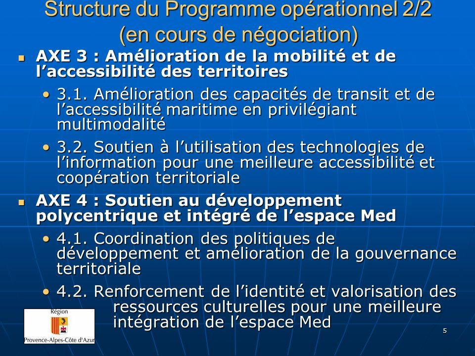 5 Structure du Programme opérationnel 2/2 (en cours de négociation) AXE 3 : Amélioration de la mobilité et de laccessibilité des territoires AXE 3 : A