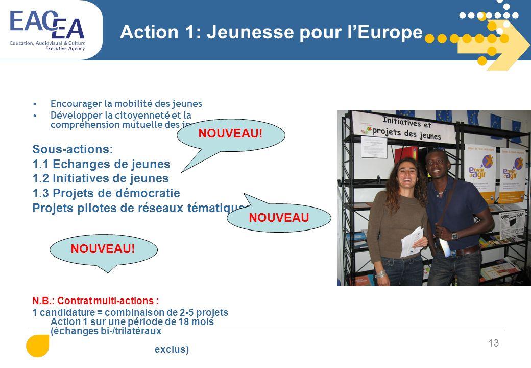 13 Action 1: Jeunesse pour lEurope Encourager la mobilité des jeunes Développer la citoyenneté et la compréhension mutuelle des jeunes Sous-actions: 1