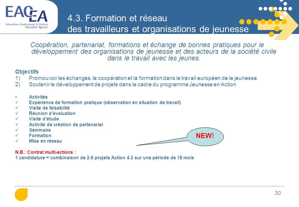 31 4.3. Formation et réseau des travailleurs et organisations de jeunesse