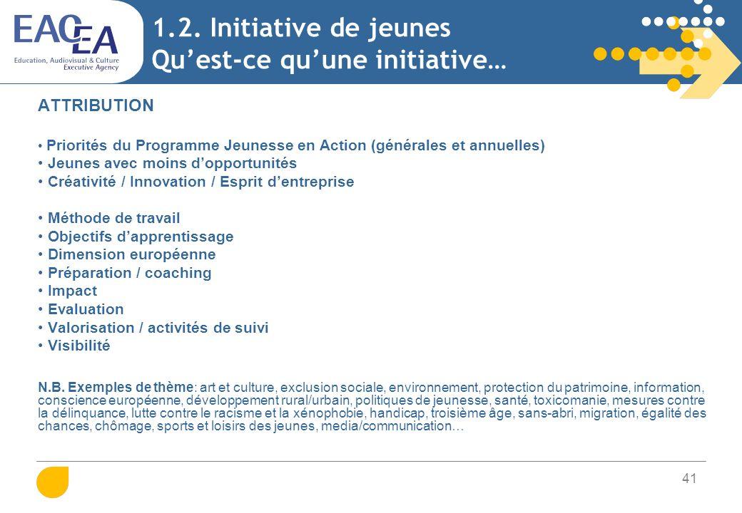 41 1.2. Initiative de jeunes Quest-ce quune initiative… ATTRIBUTION Priorités du Programme Jeunesse en Action (générales et annuelles) Jeunes avec moi