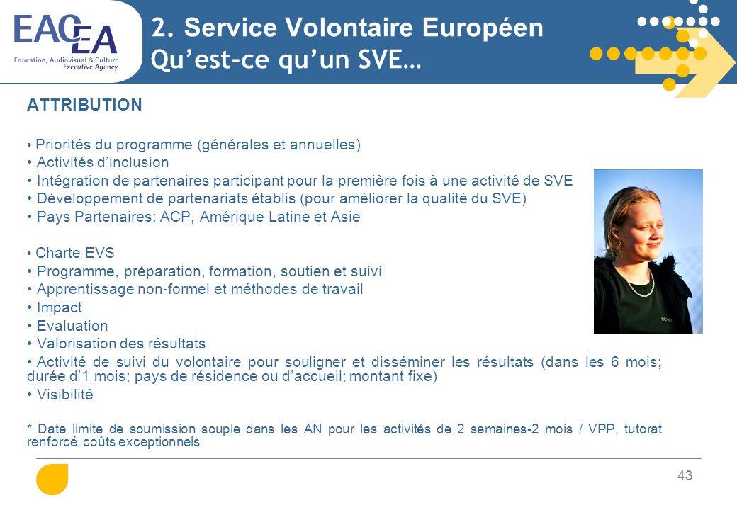 43 2. Service Volontaire Européen Quest-ce quun SVE… ATTRIBUTION Priorités du programme (générales et annuelles) Activités dinclusion Intégration de p