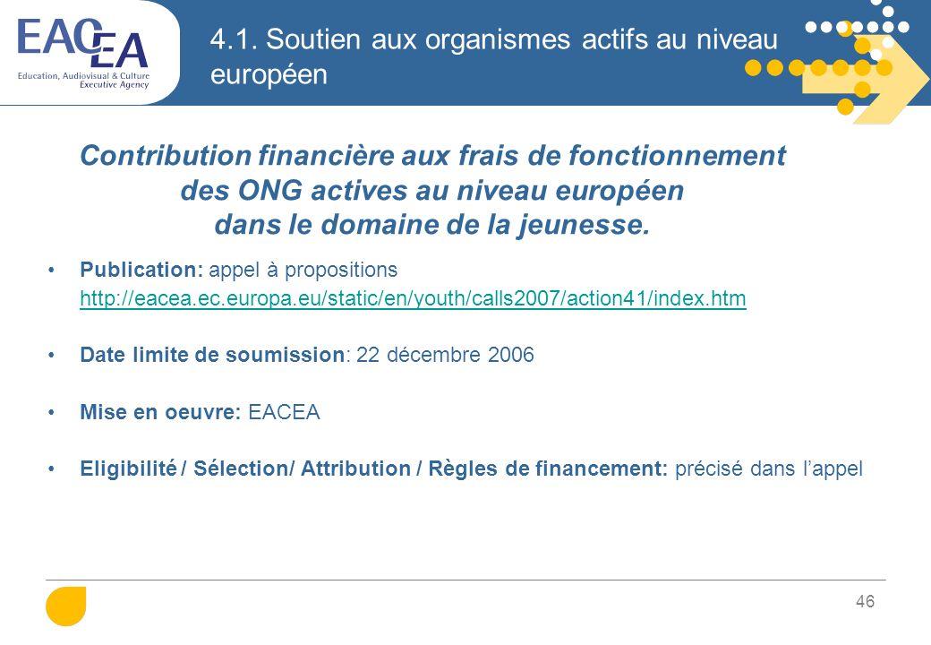 46 4.1. Soutien aux organismes actifs au niveau européen Publication: appel à propositions http://eacea.ec.europa.eu/static/en/youth/calls2007/action4