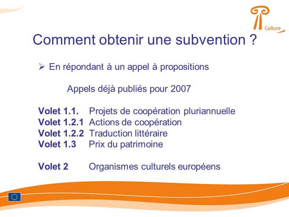 En répondant à un appel à propositions Appels déjà publiés pour 2007 Volet 1.1.