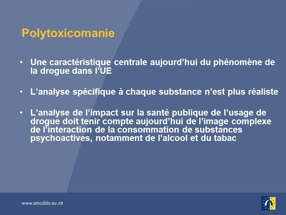 Polytoxicomanie Une caractéristique centrale aujourdhui du phénomène de la drogue dans lUE Lanalyse spécifique à chaque substance nest plus réaliste L