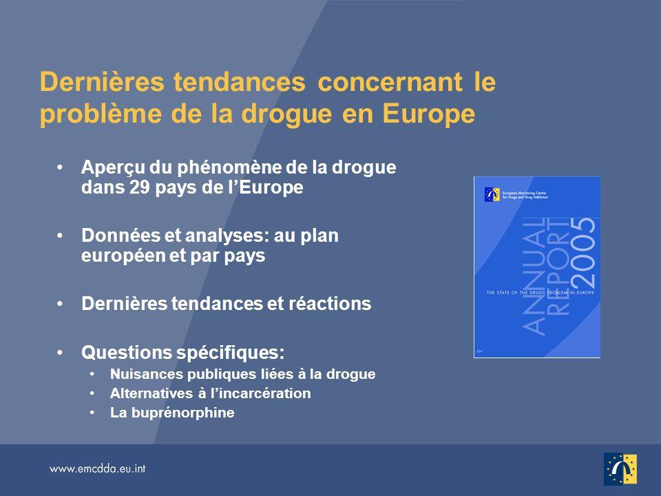 Dernières tendances concernant le problème de la drogue en Europe Aperçu du phénomène de la drogue dans 29 pays de lEurope Données et analyses: au pla