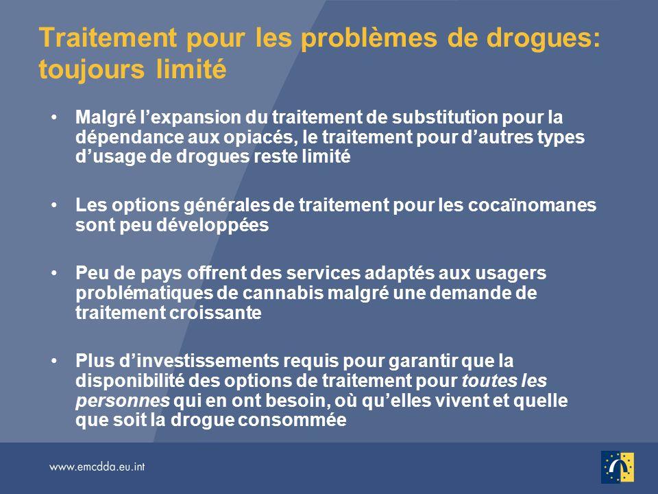 Traitement pour les problèmes de drogues: toujours limité Malgré lexpansion du traitement de substitution pour la dépendance aux opiacés, le traitemen