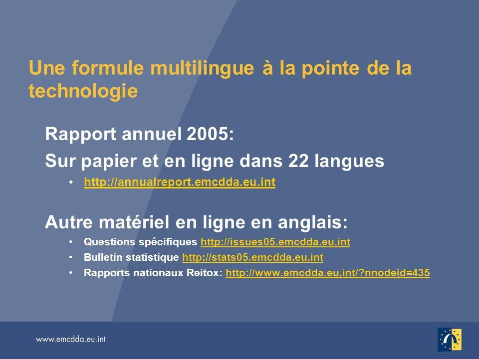 Une formule multilingue à la pointe de la technologie Rapport annuel 2005: Sur papier et en ligne dans 22 langues http://annualreport.emcdda.eu.inthttp://annualreport.emcdda.eu.int Autre matériel en ligne en anglais: Questions spécifiques http://issues05.emcdda.eu.inthttp://issues05.emcdda.eu.int Bulletin statistique http://stats05.emcdda.eu.inthttp://stats05.emcdda.eu.int Rapports nationaux Reitox: http://www.emcdda.eu.int/ nnodeid=435http://www.emcdda.eu.int/ nnodeid=435