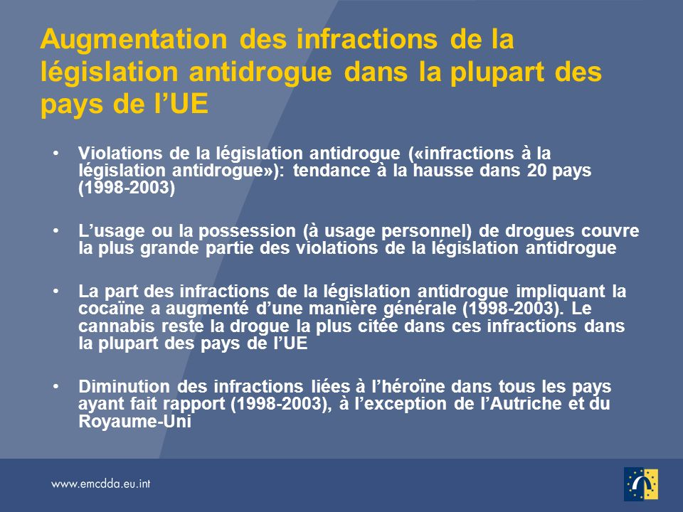 Augmentation des infractions de la législation antidrogue dans la plupart des pays de lUE Violations de la législation antidrogue («infractions à la l