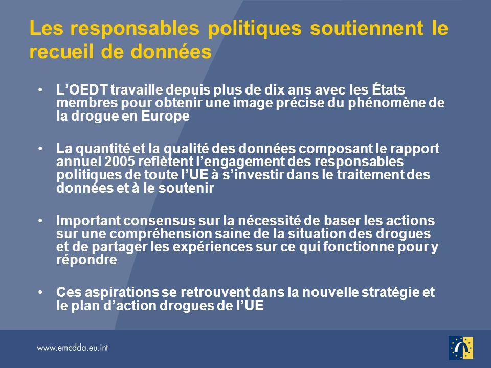 Les responsables politiques soutiennent le recueil de données LOEDT travaille depuis plus de dix ans avec les États membres pour obtenir une image pré