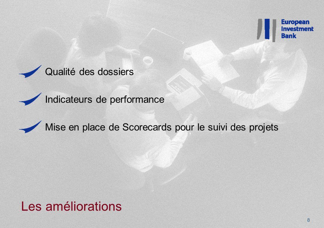 Les améliorations 8 Qualité des dossiers Indicateurs de performance Mise en place de Scorecards pour le suivi des projets