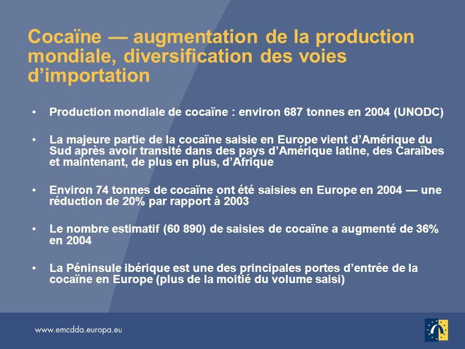 Cocaïne augmentation de la production mondiale, diversification des voies dimportation Production mondiale de cocaïne : environ 687 tonnes en 2004 (UN