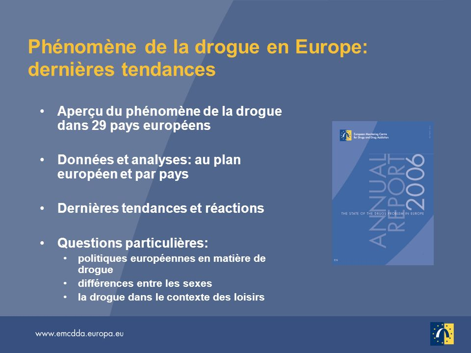 Dossier documentaire multilingue Rapport annuel 2006: Version imprimée et en ligne dans 23 langues http://annualreport.emcdda.europa.eu Documents supplémentaires en ligne, en anglais: Questions spécifiques http://issues06.emcdda.europa.eu Bulletin statistique http://stats06.emcdda.europa.eu Profils de données par pays http://dataprofiles06.emcdda.europa.eu Rapports nationaux Reitox http://www.emcdda.europa.eu/?nnodeid=435