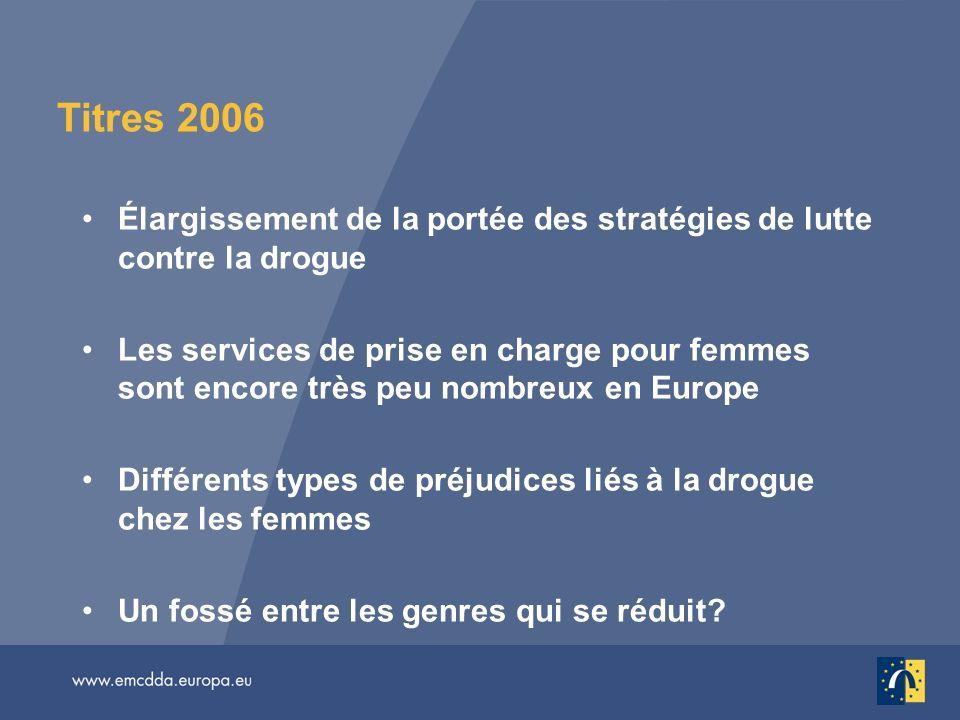 Titres 2006 Élargissement de la portée des stratégies de lutte contre la drogue Les services de prise en charge pour femmes sont encore très peu nombr
