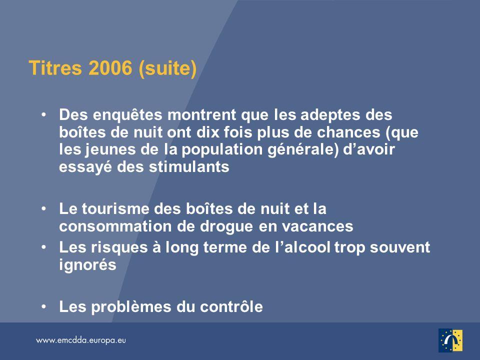 Titres 2006 (suite) Des enquêtes montrent que les adeptes des boîtes de nuit ont dix fois plus de chances (que les jeunes de la population générale) d