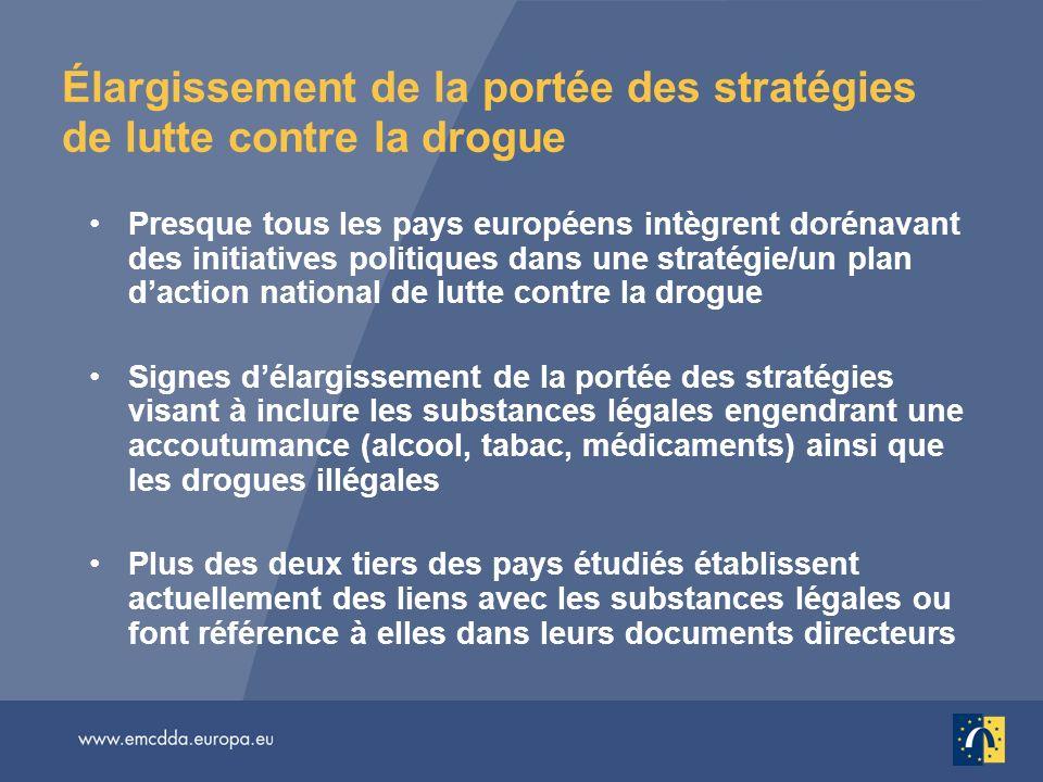 Élargissement de la portée des stratégies de lutte contre la drogue Presque tous les pays européens intègrent dorénavant des initiatives politiques da