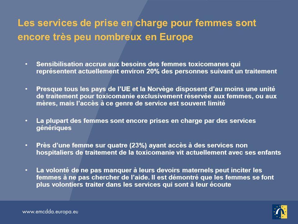 Les services de prise en charge pour femmes sont encore très peu nombreux en Europe Sensibilisation accrue aux besoins des femmes toxicomanes qui repr