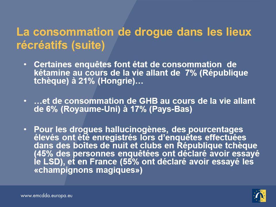 La consommation de drogue dans les lieux récréatifs (suite) Certaines enquêtes font état de consommation de kétamine au cours de la vie allant de 7% (
