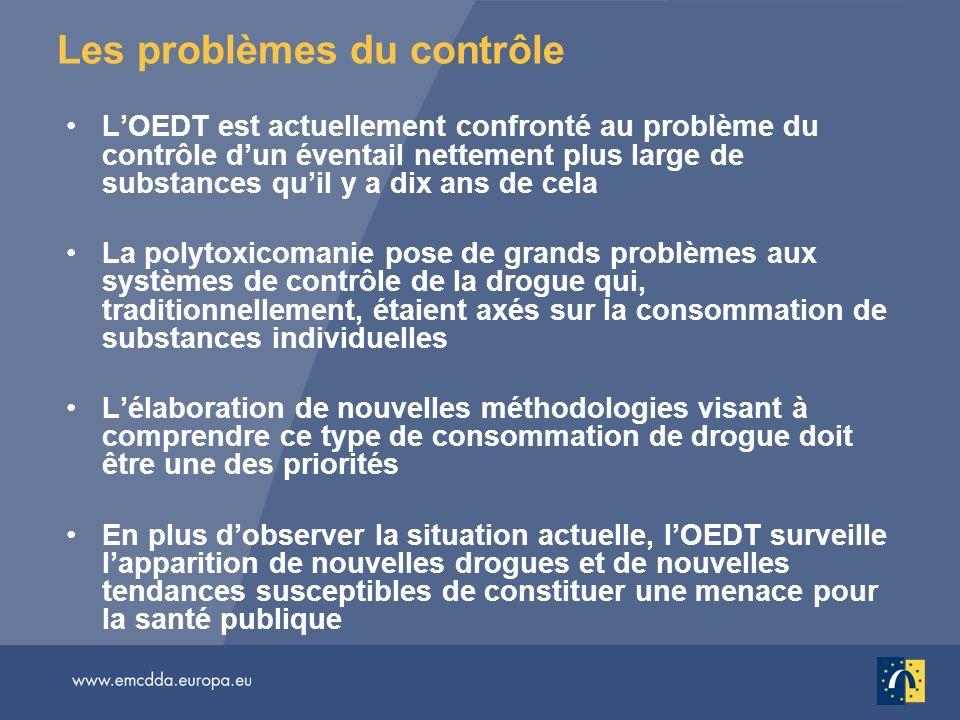Les problèmes du contrôle LOEDT est actuellement confronté au problème du contrôle dun éventail nettement plus large de substances quil y a dix ans de