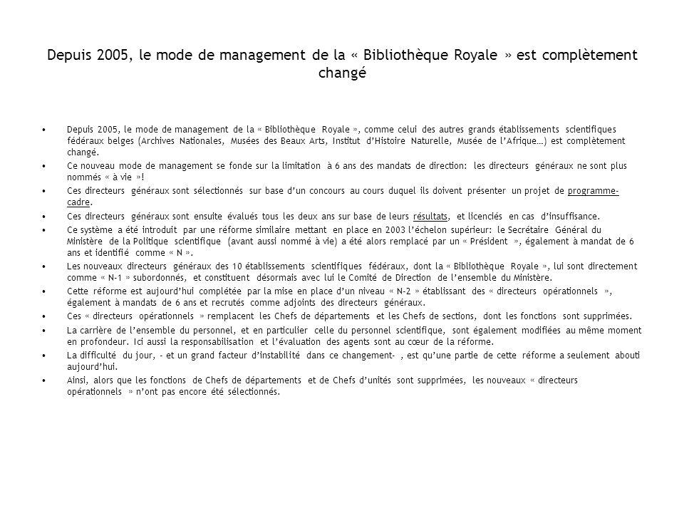 Depuis 2005, le mode de management de la « Bibliothèque Royale » est complètement changé Depuis 2005, le mode de management de la « Bibliothèque Royal