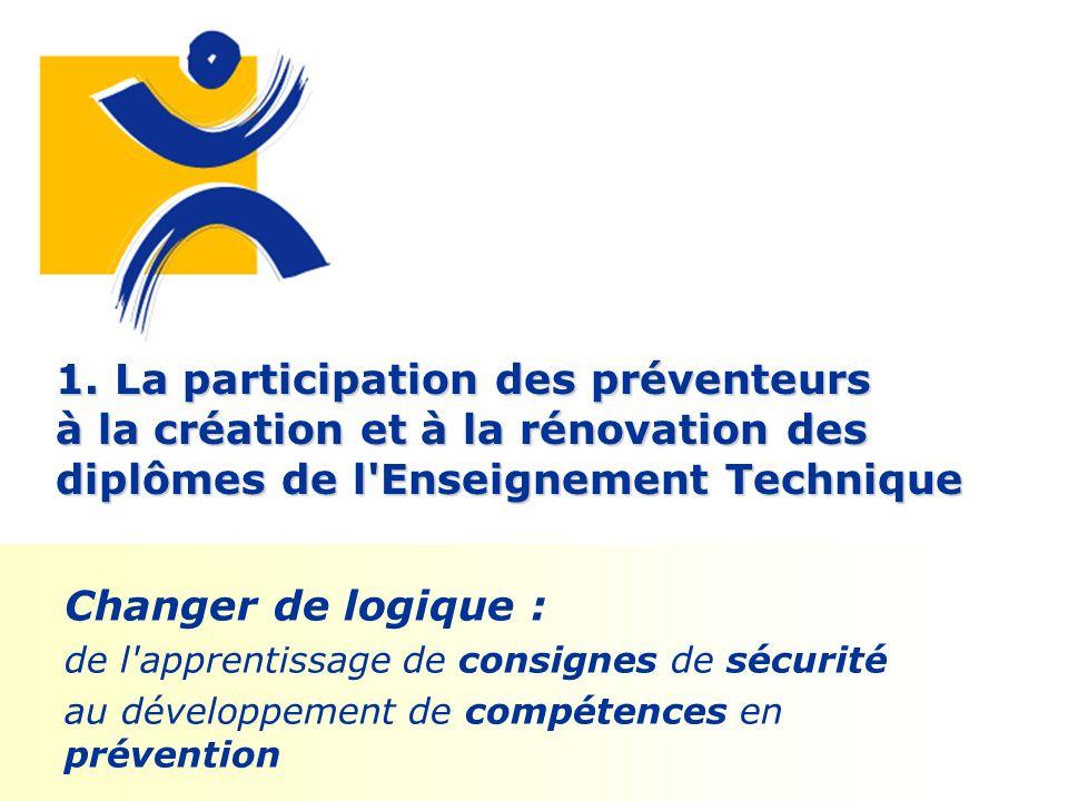 1. La participation des préventeurs à la création et à la rénovation des diplômes de l'Enseignement Technique Changer de logique : de l'apprentissage