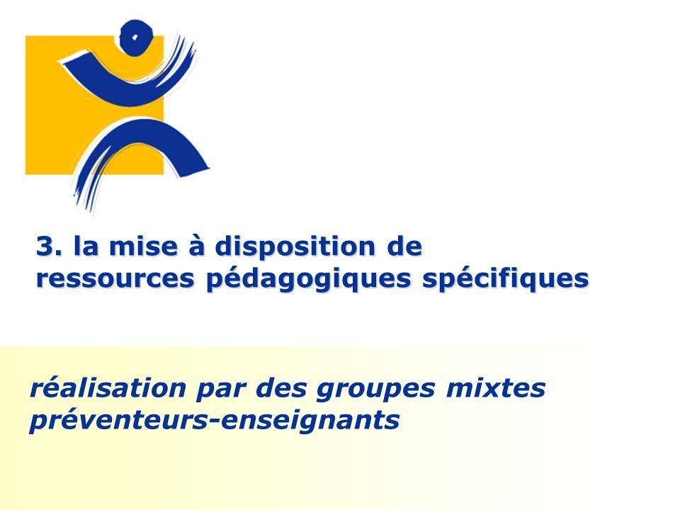 3. la mise à disposition de ressources pédagogiques spécifiques réalisation par des groupes mixtes préventeurs-enseignants