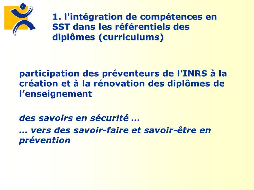 1. l'intégration de compétences en SST dans les référentiels des diplômes (curriculums) participation des préventeurs de l'INRS à la création et à la