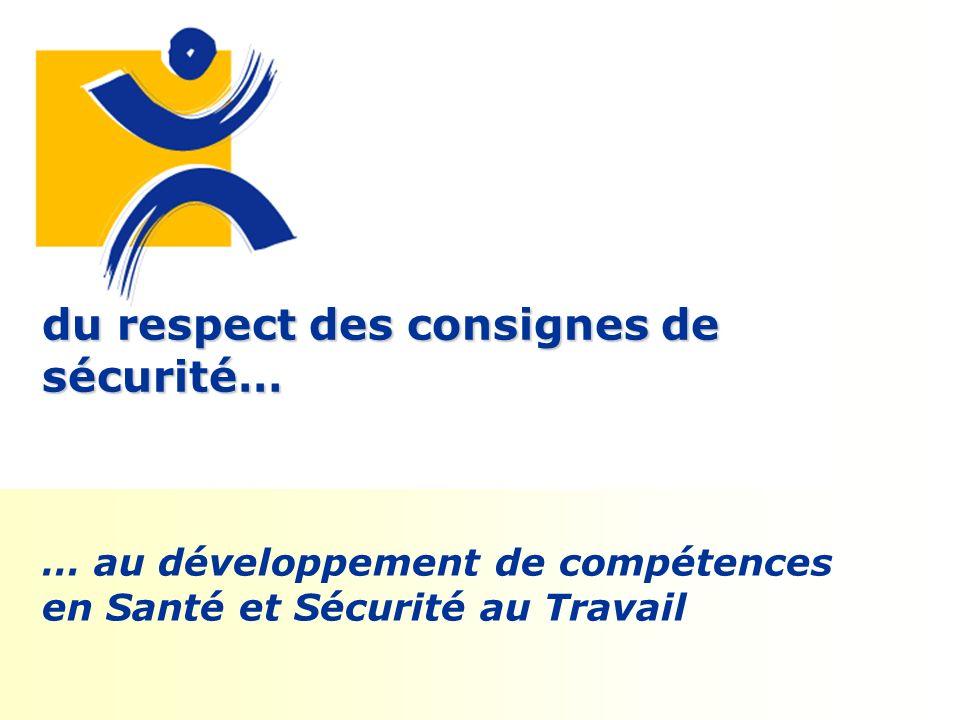 du respect des consignes de sécurité… … au développement de compétences en Santé et Sécurité au Travail