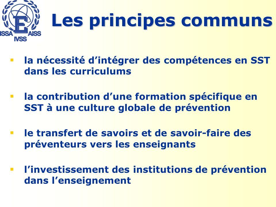Les principes communs la nécessité dintégrer des compétences en SST dans les curriculums la contribution dune formation spécifique en SST à une culture globale de prévention le transfert de savoirs et de savoir-faire des préventeurs vers les enseignants linvestissement des institutions de prévention dans lenseignement