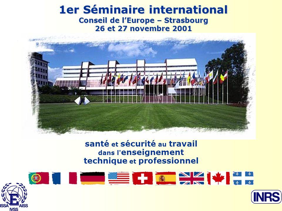 1er Séminaire international Conseil de lEurope – Strasbourg 26 et 27 novembre 2001 santé et sécurité au travail dans l enseignement technique et professionnel