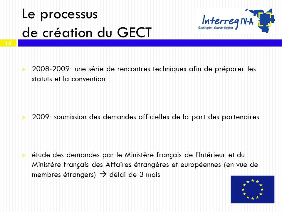 13 Le processus de création du GECT 2008-2009: une série de rencontres techniques afin de préparer les statuts et la convention 2009: soumission des d