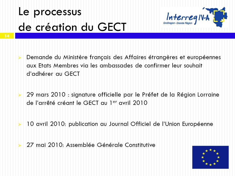 14 Le processus de création du GECT Demande du Ministère français des Affaires étrangères et européennes aux Etats Membres via les ambassades de confi