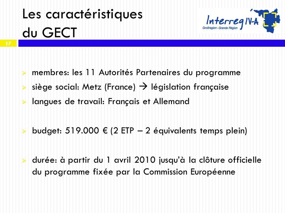 17 Les caractéristiques du GECT membres: les 11 Autorités Partenaires du programme siège social: Metz (France) législation française langues de travai