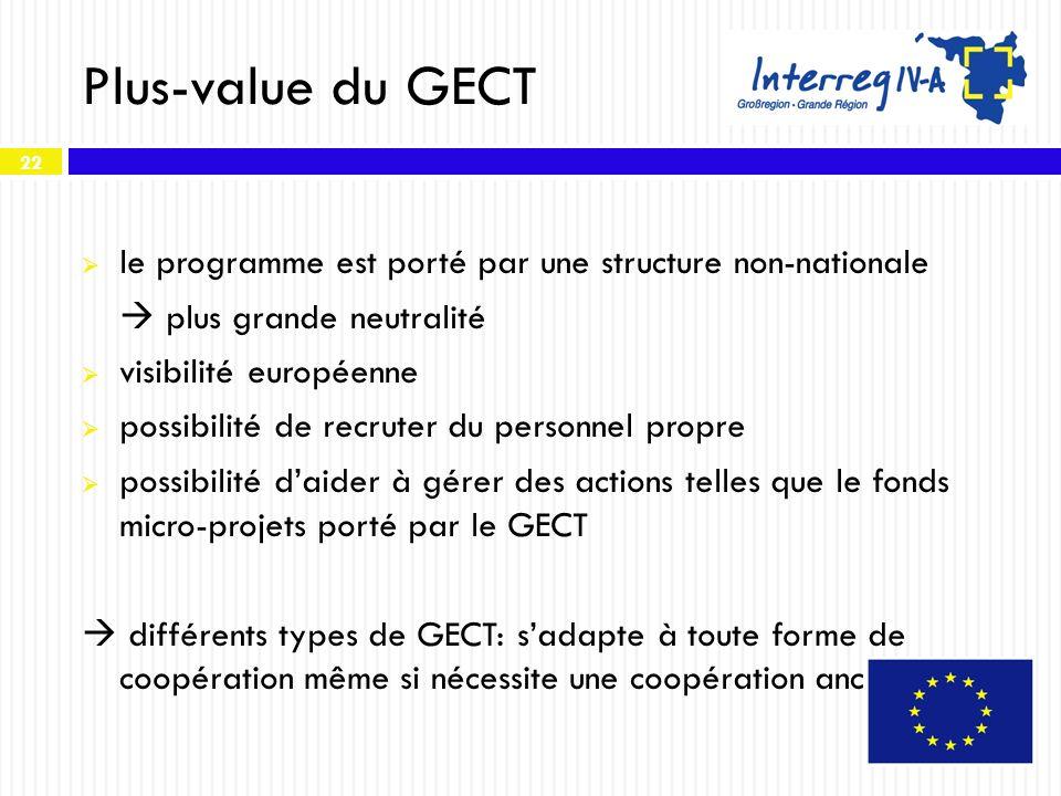 22 Plus-value du GECT le programme est porté par une structure non-nationale plus grande neutralité visibilité européenne possibilité de recruter du p
