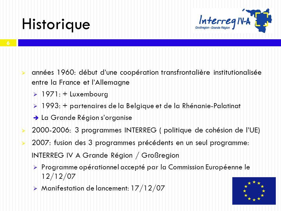 6 Historique années 1960: début dune coopération transfrontalière institutionalisée entre la France et lAllemagne 1971: + Luxembourg 1993: + partenair