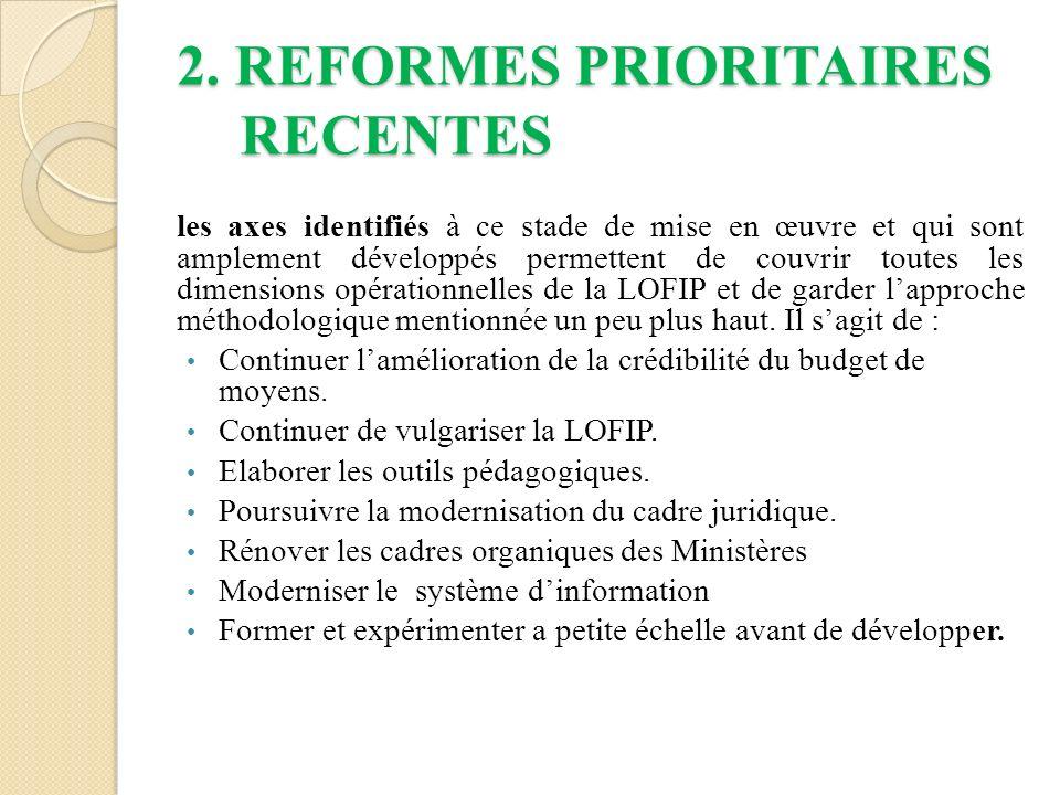 2. REFORMES PRIORITAIRES RECENTES les axes identifiés à ce stade de mise en œuvre et qui sont amplement développés permettent de couvrir toutes les di