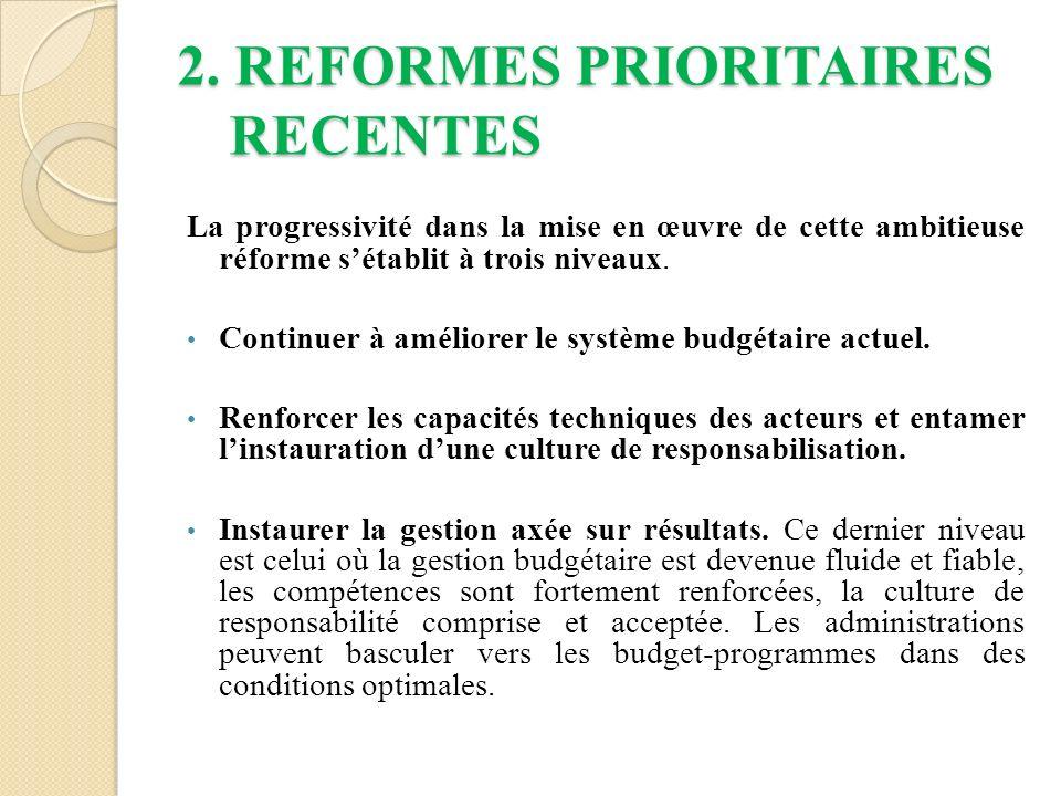2. REFORMES PRIORITAIRES RECENTES La progressivité dans la mise en œuvre de cette ambitieuse réforme sétablit à trois niveaux. Continuer à améliorer l