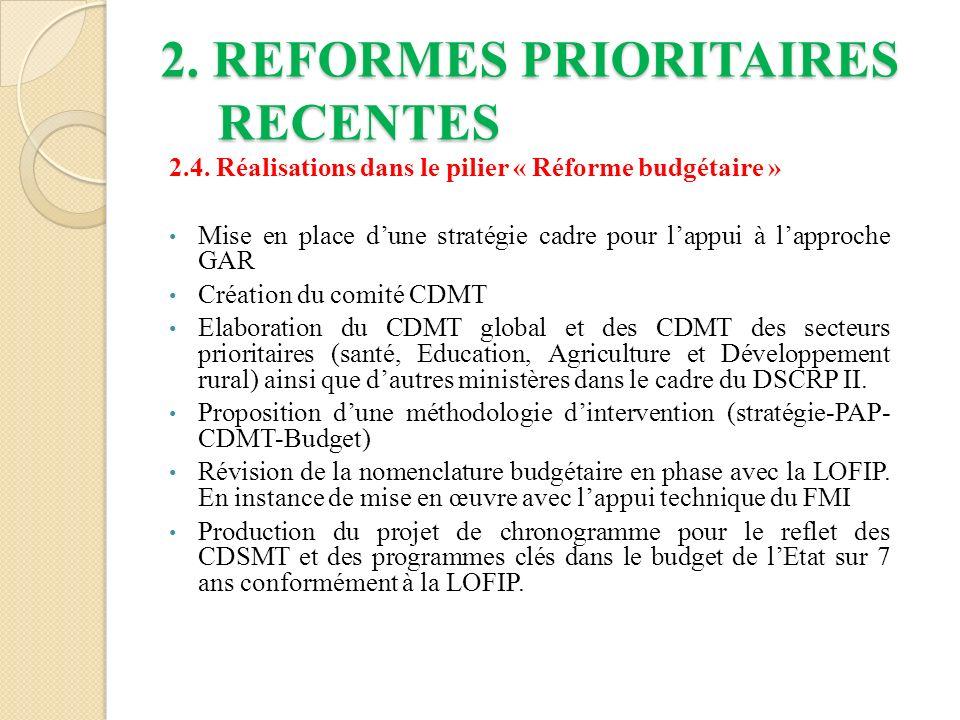 2.REFORMES PRIORITAIRES RECENTES 2.4.