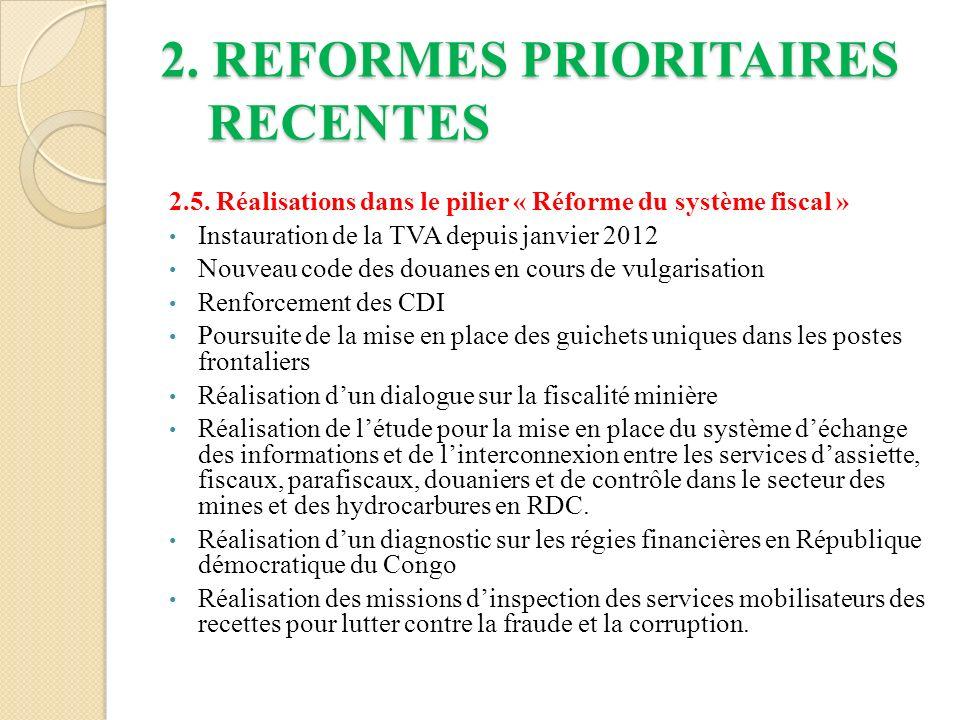 2.REFORMES PRIORITAIRES RECENTES 2.5.