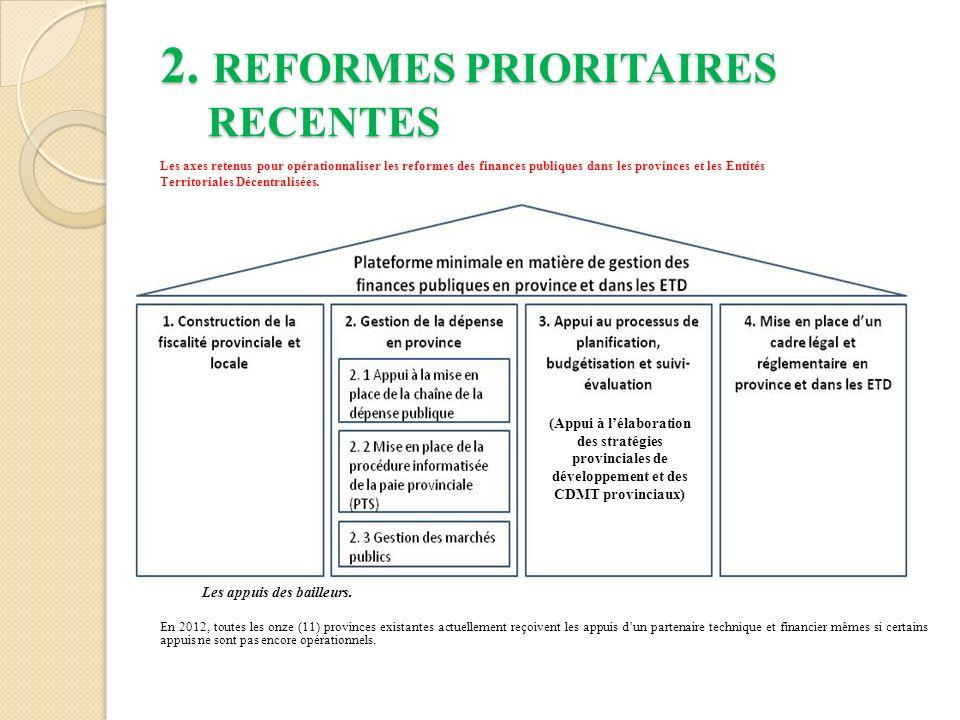 2. REFORMES PRIORITAIRES RECENTES Les axes retenus pour opérationnaliser les reformes des finances publiques dans les provinces et les Entités Territo