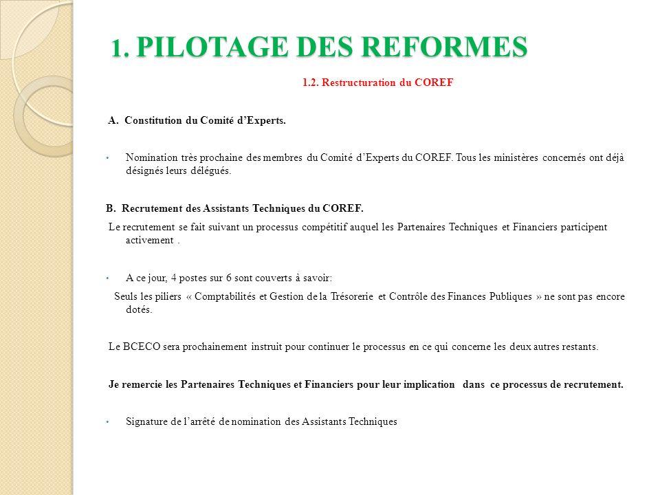 1.PILOTAGE DES REFORMES 1.2. Restructuration du COREF A.