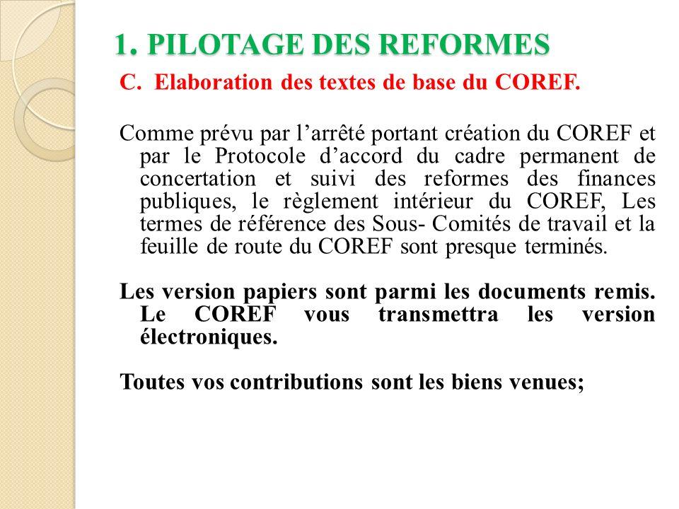 1.PILOTAGE DES REFORMES D.